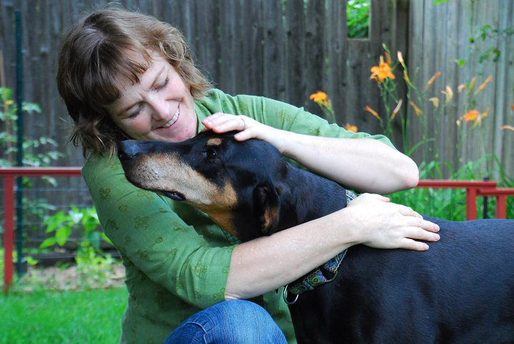 Trish McMillan - Certified Dog Trainer with Fifi the Doberman