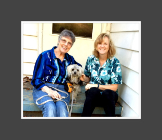 Dog owner Sandra and her dog Piccolo sitting with Trish